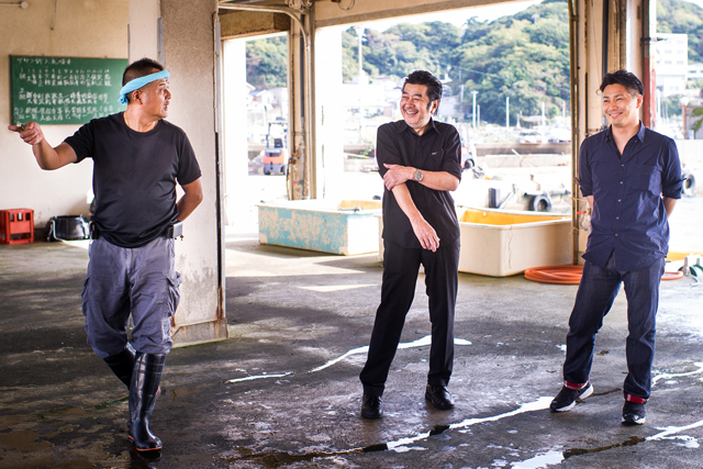 Chef Kawase and Chef Imamura talk with the director of the Wagu fishermen's association.